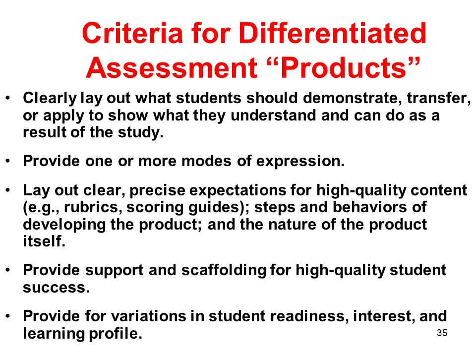 Criteria for Differentiated Assessment Products