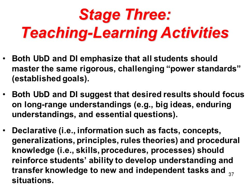 Stage Three: Teaching-Learning Activities