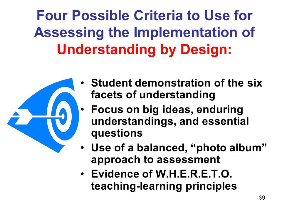 Four Possible Criteria to Use for Assessing the Implementation of Understanding by Design: