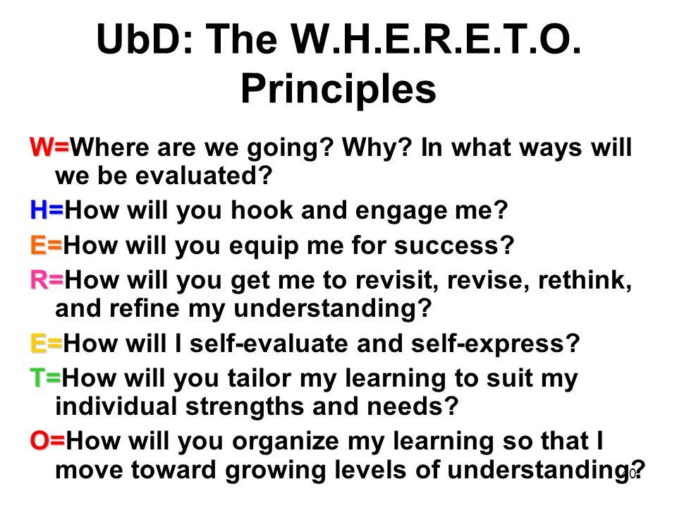 UbD: The W.H.E.R.E.T.O. Principles