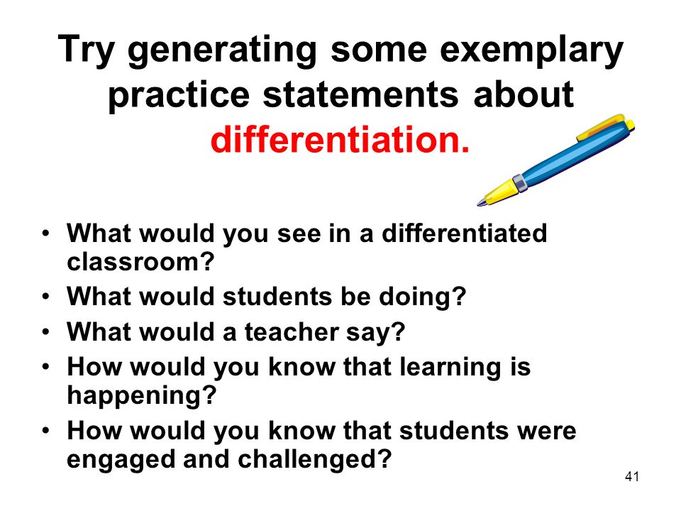 Try generating some exemplary practice statements about differentiation.