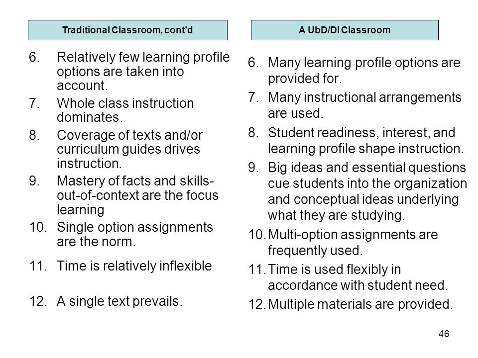 Traditional Classroom, cont'd Differentiated Classroom, cont'd