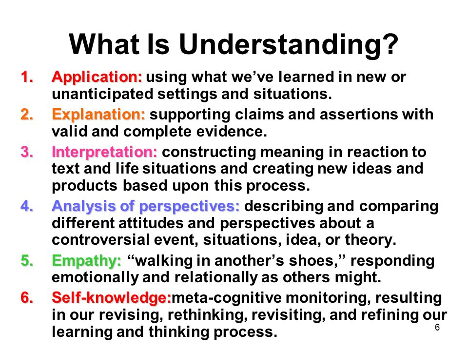 What Is Understanding Application: using what we've learned in new or unanticipated settings and situations.