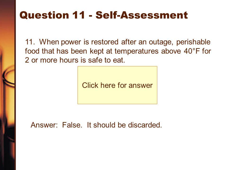 Question 11 - Self-Assessment
