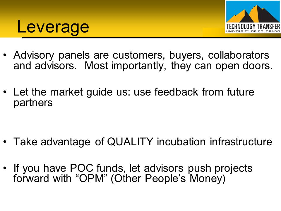 Leverage Advisory panels are customers, buyers, collaborators and advisors. Most importantly, they can open doors.
