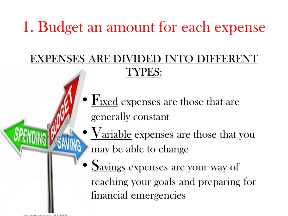 1. Budget an amount for each expense
