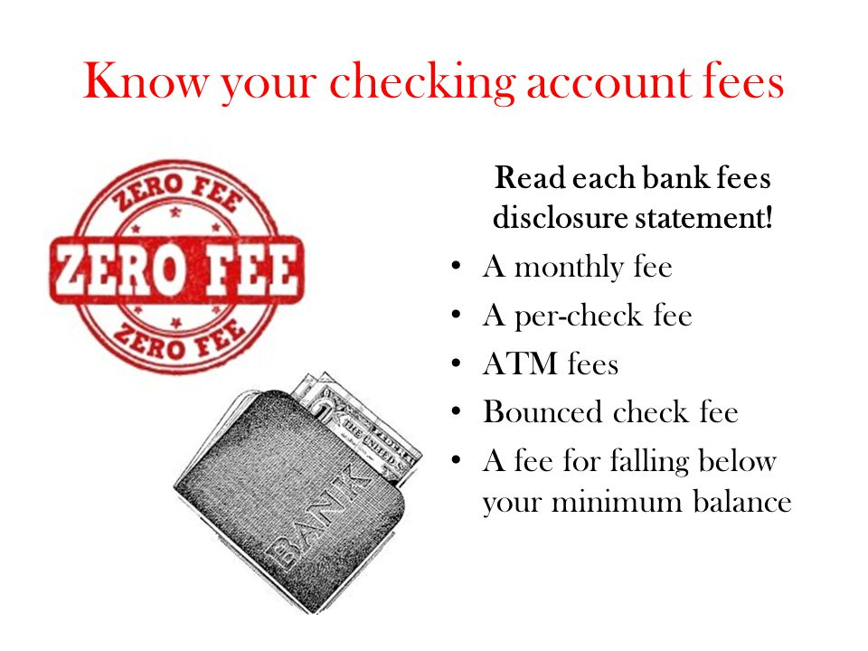 Know your checking account fees