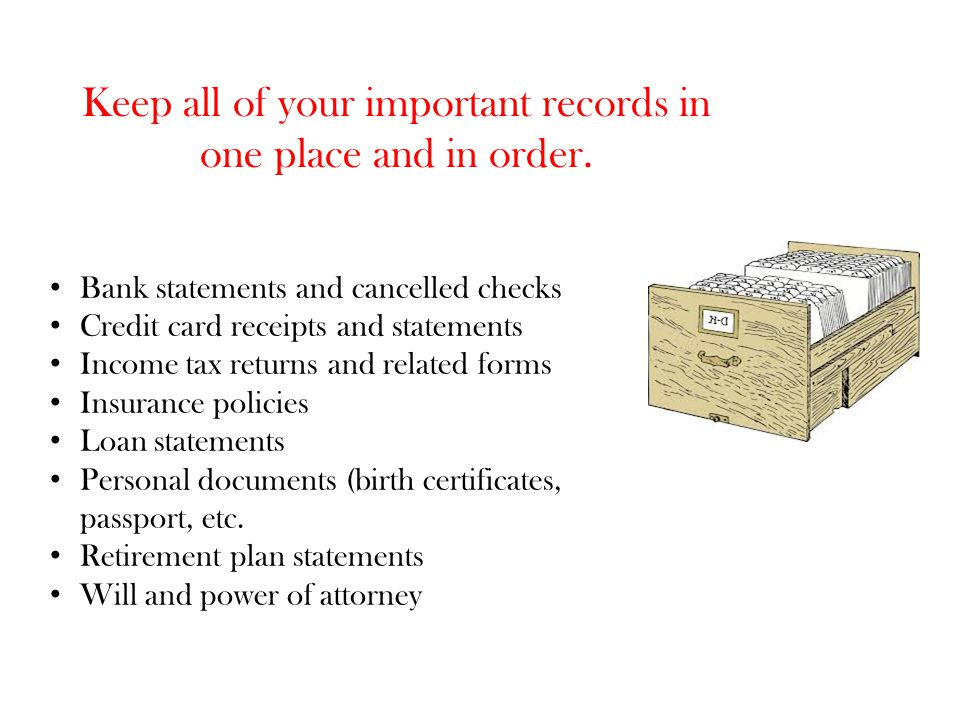 Keep all of your important records in one place and in order.