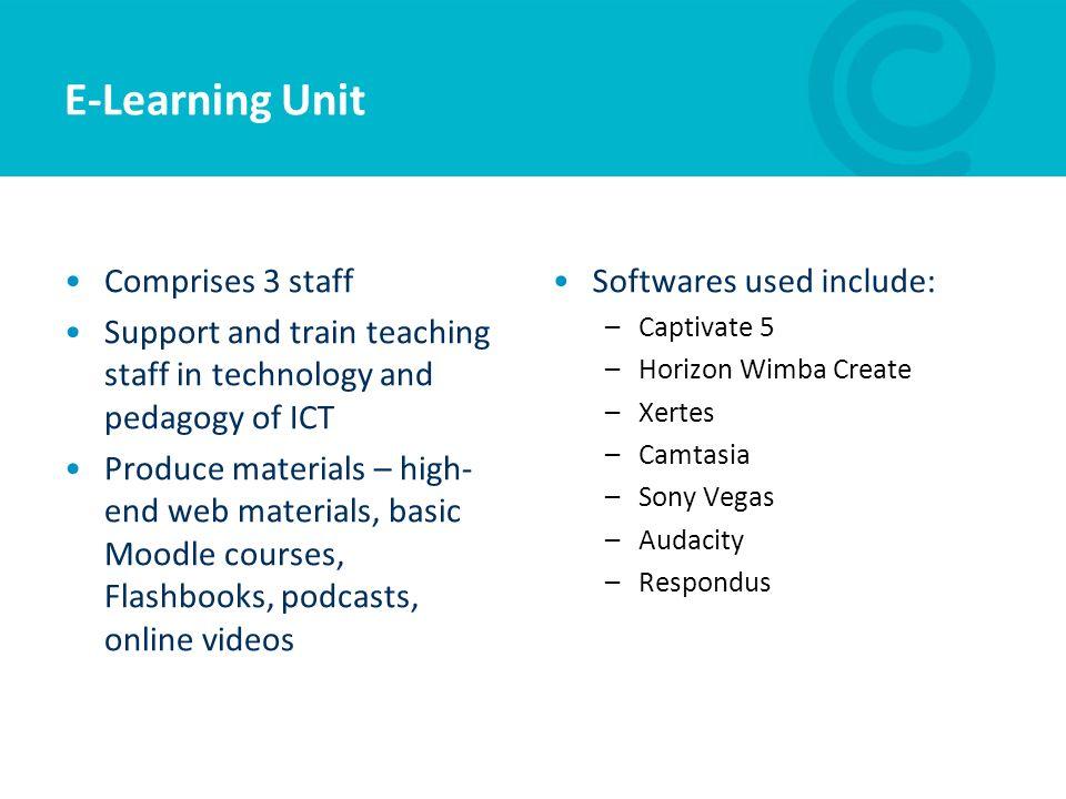 E-Learning Unit Comprises 3 staff