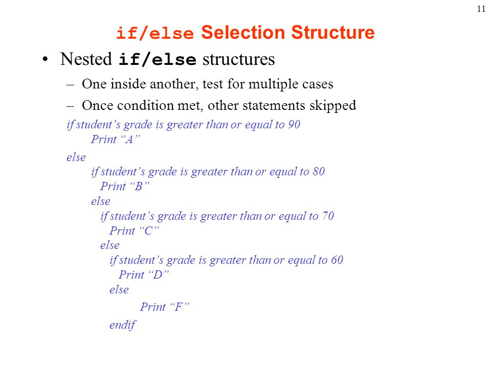 if/else Selection Structure