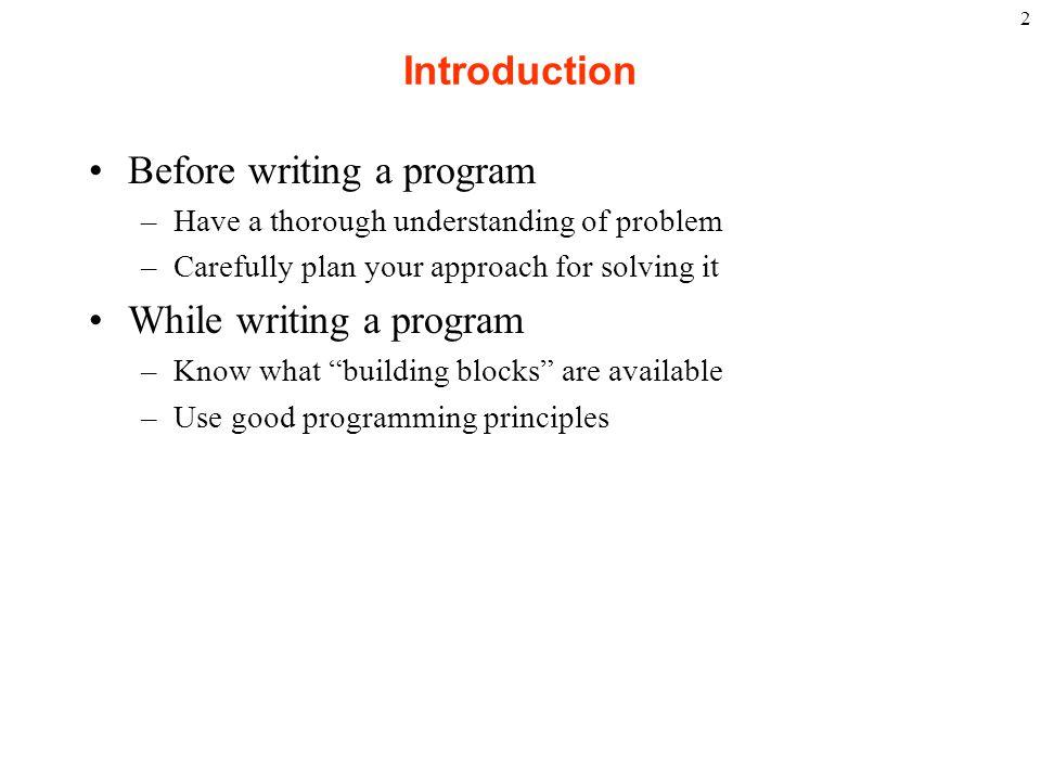 Before writing a program