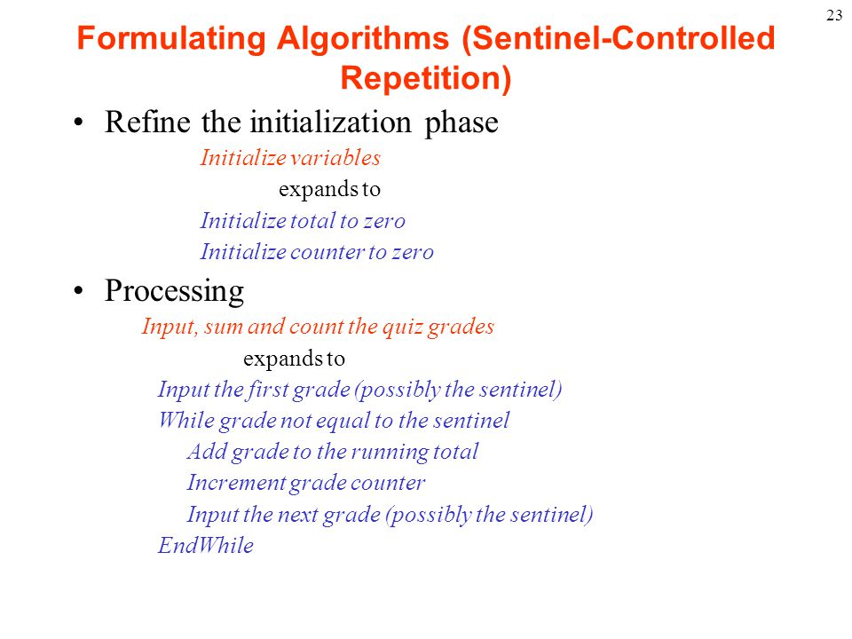 Formulating Algorithms (Sentinel-Controlled Repetition)
