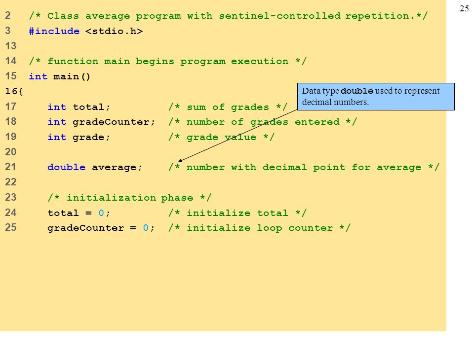 2 /* Class average program with sentinel-controlled repetition.*/