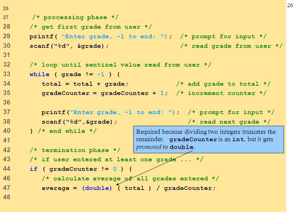 28 /* get first grade from user */