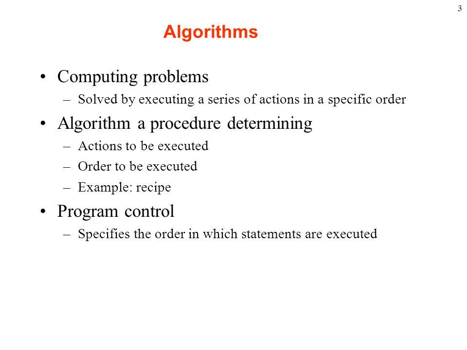 Algorithm a procedure determining