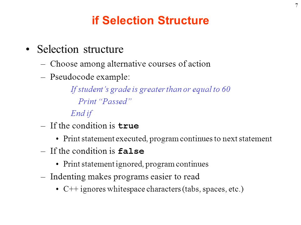 if Selection Structure
