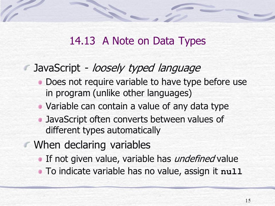 JavaScript - loosely typed language