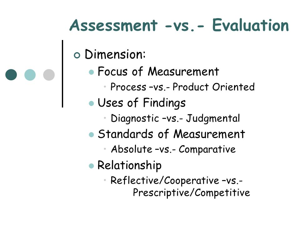 Assessment -vs.- Evaluation