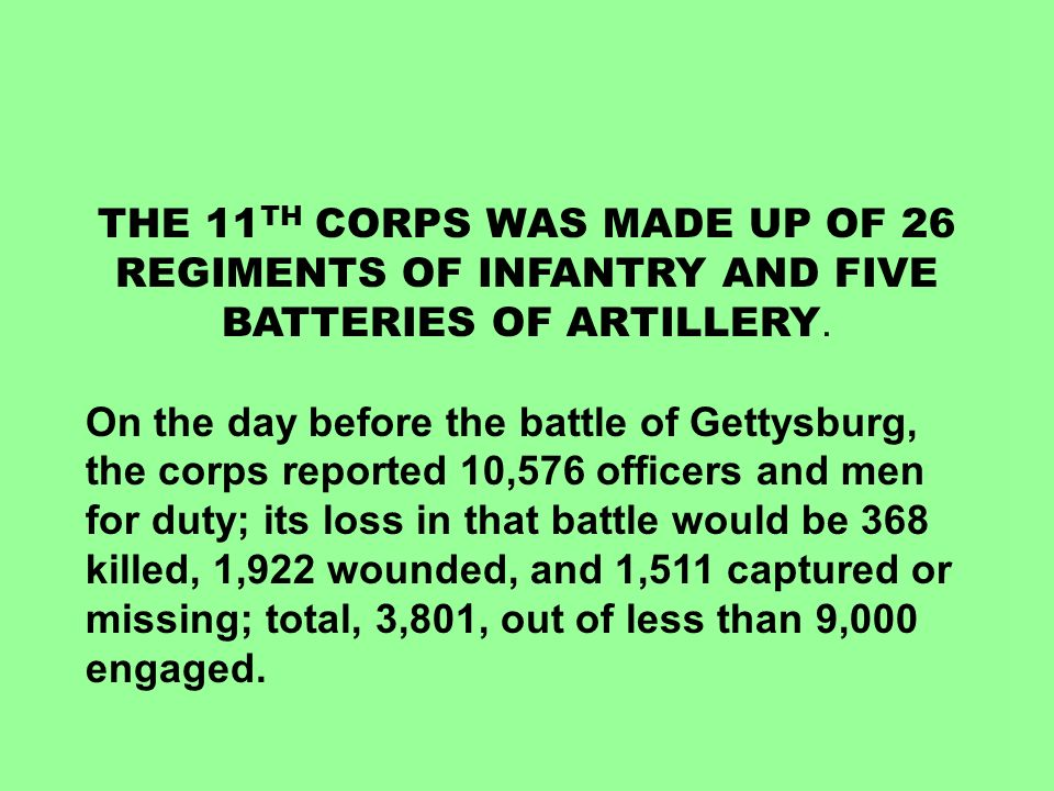 THE 11TH CORPS WAS MADE UP OF 26 REGIMENTS OF INFANTRY AND FIVE BATTERIES OF ARTILLERY.