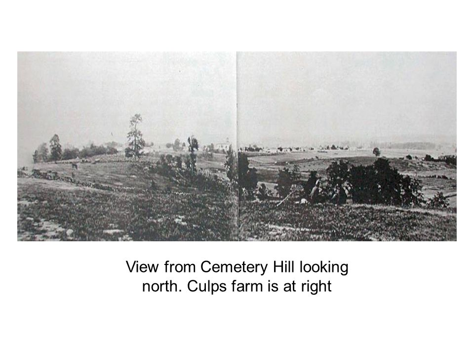 View from Cemetery Hill looking north. Culps farm is at right