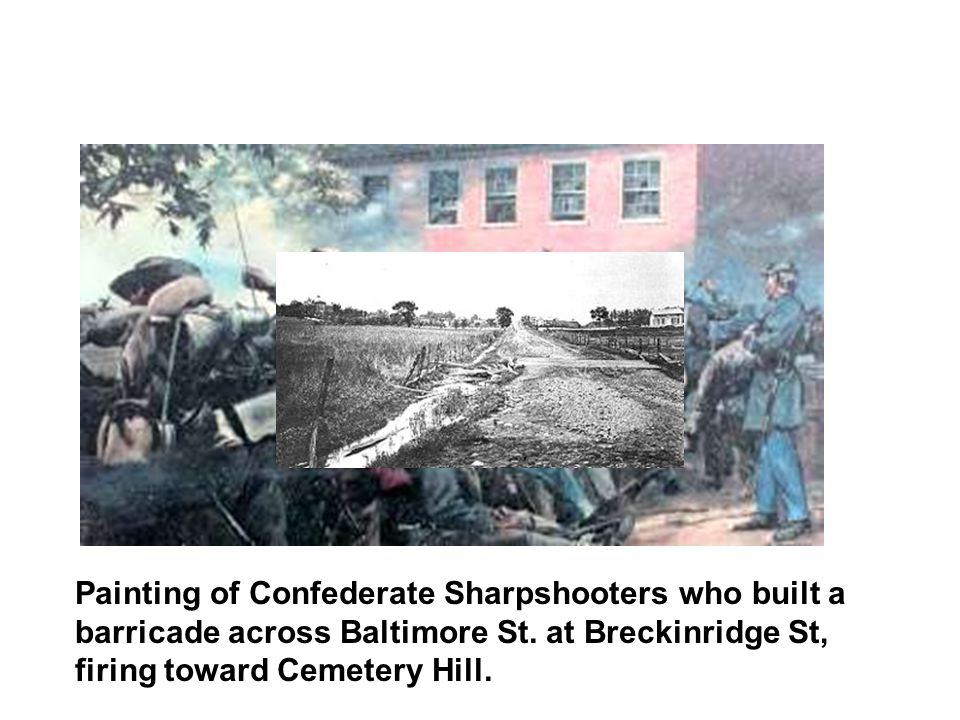 Painting of Confederate Sharpshooters who built a barricade across Baltimore St.