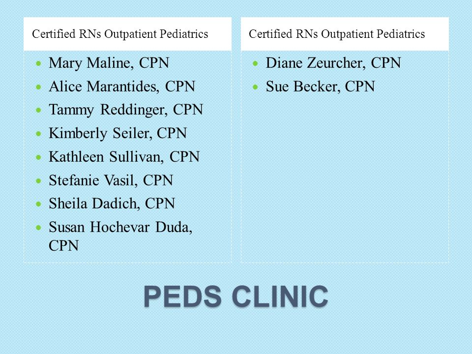 PEDS CLINIC Mary Maline, CPN Alice Marantides, CPN
