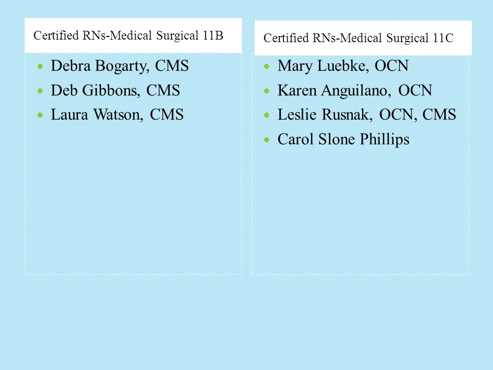 Debra Bogarty, CMS Deb Gibbons, CMS Laura Watson, CMS Mary Luebke, OCN