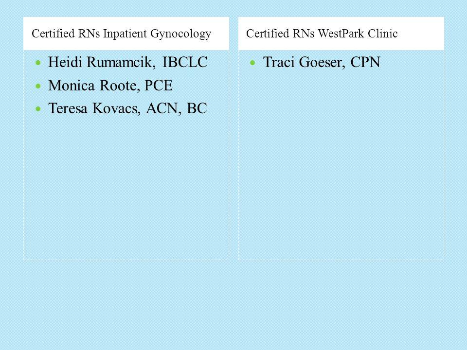 Heidi Rumamcik, IBCLC Monica Roote, PCE Teresa Kovacs, ACN, BC