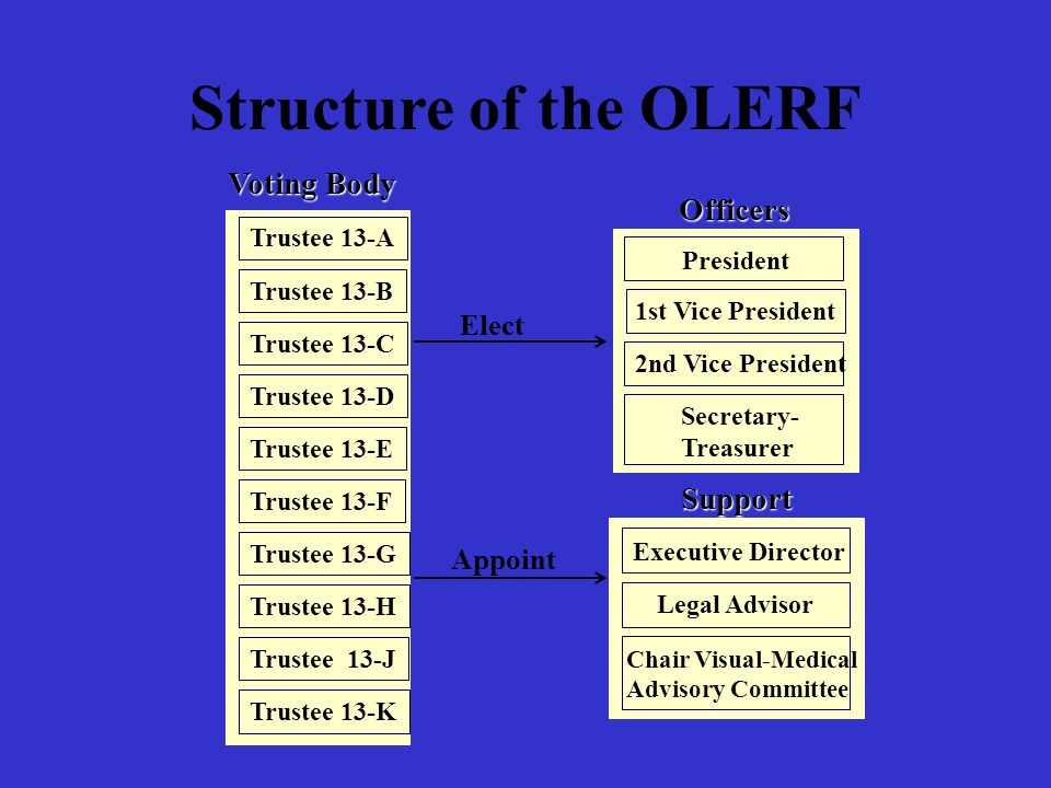 Structure of the OLERF Voting Body Officers Support Elect Appoint