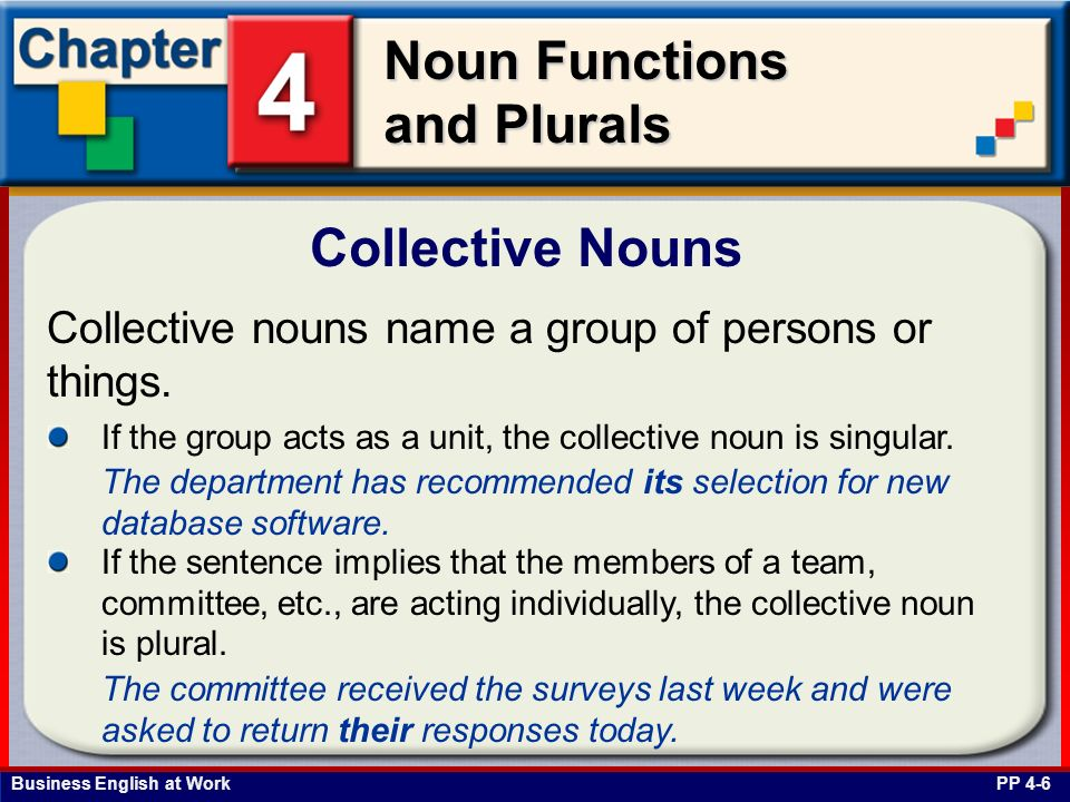 Collective Nouns Collective nouns name a group of persons or things.