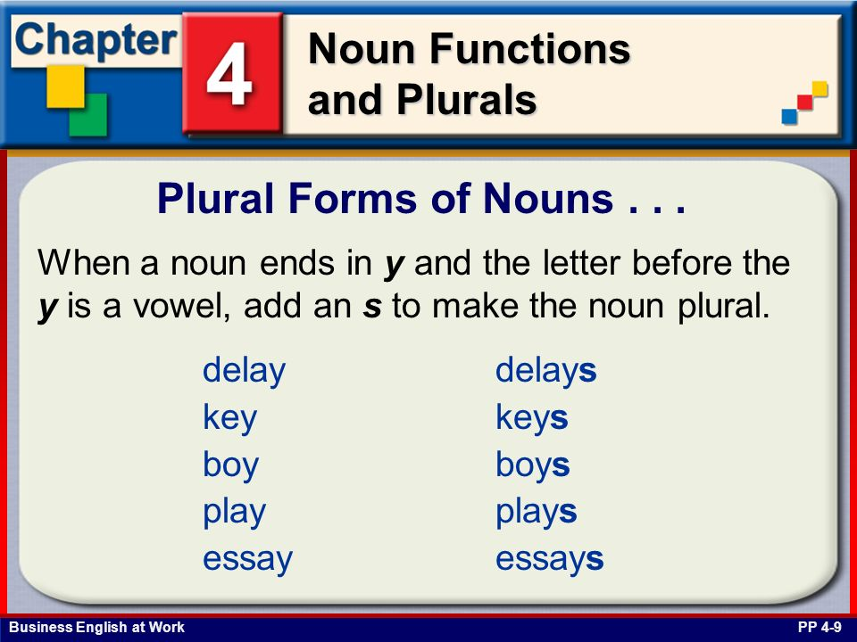 Plural Forms of Nouns . . .When a noun ends in y and the letter before the y is a vowel, add an s to make the noun plural.