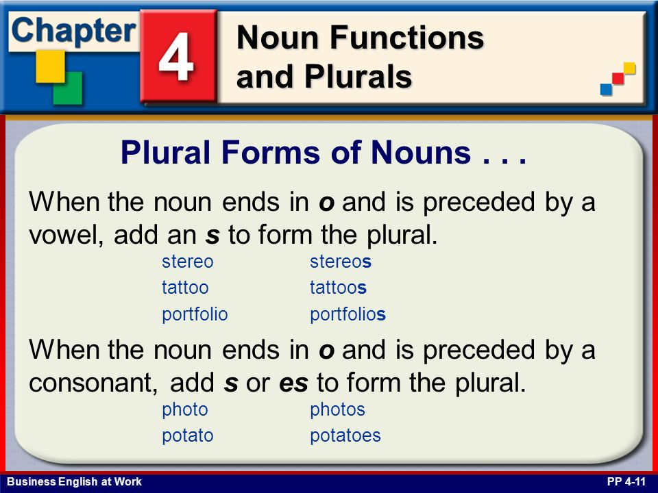 Plural Forms of Nouns . . . When the noun ends in o and is preceded by a vowel, add an s to form the plural.