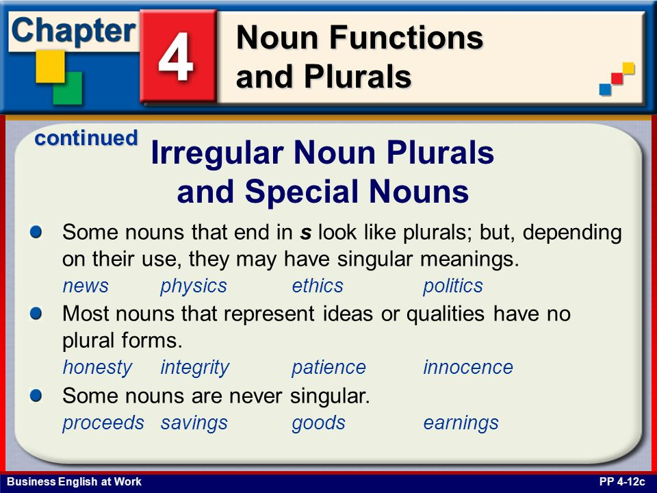 Irregular Noun Plurals and Special Nouns