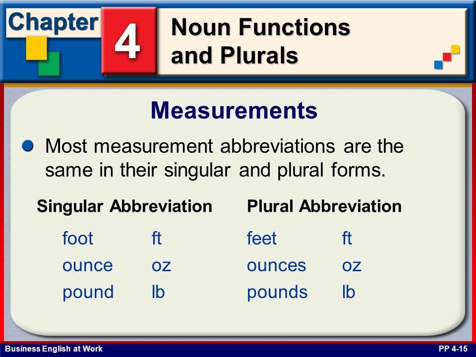Measurements Most measurement abbreviations are the same in their singular and plural forms. Singular Abbreviation.