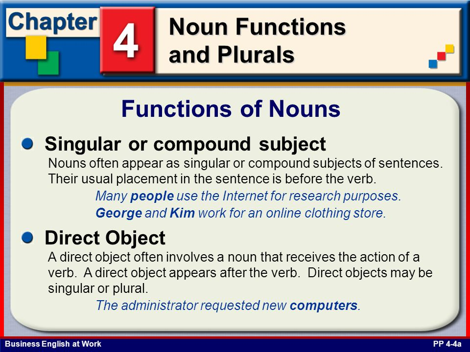 Functions of Nouns Singular or compound subject Direct Object