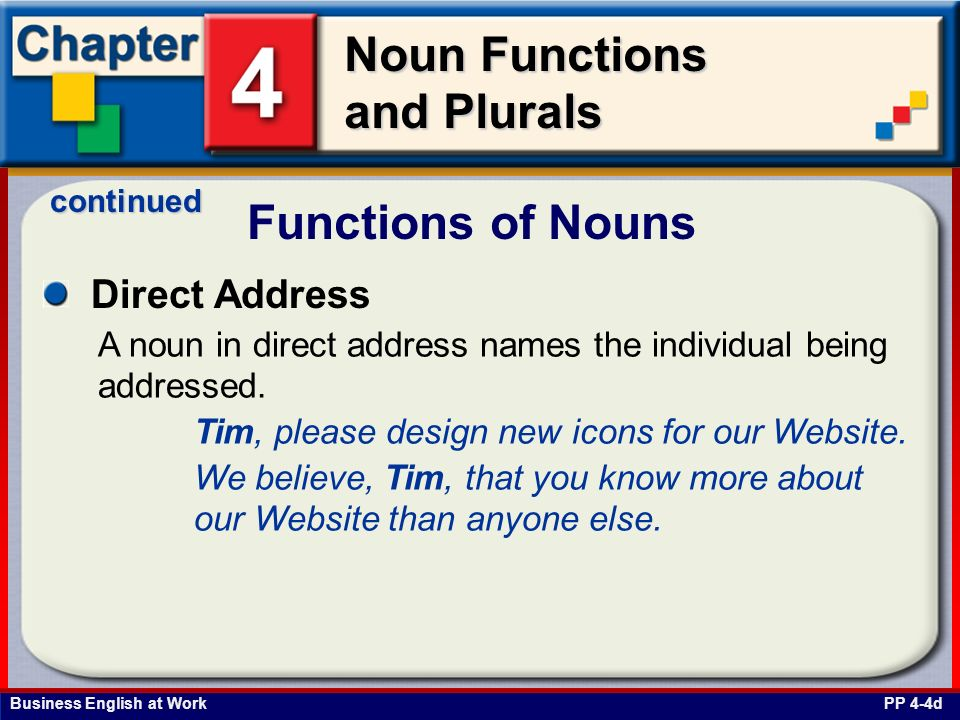 Functions of Nouns Direct Address