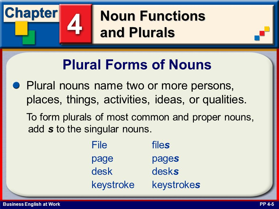 Plural Forms of Nouns Plural nouns name two or more persons, places, things, activities, ideas, or qualities.