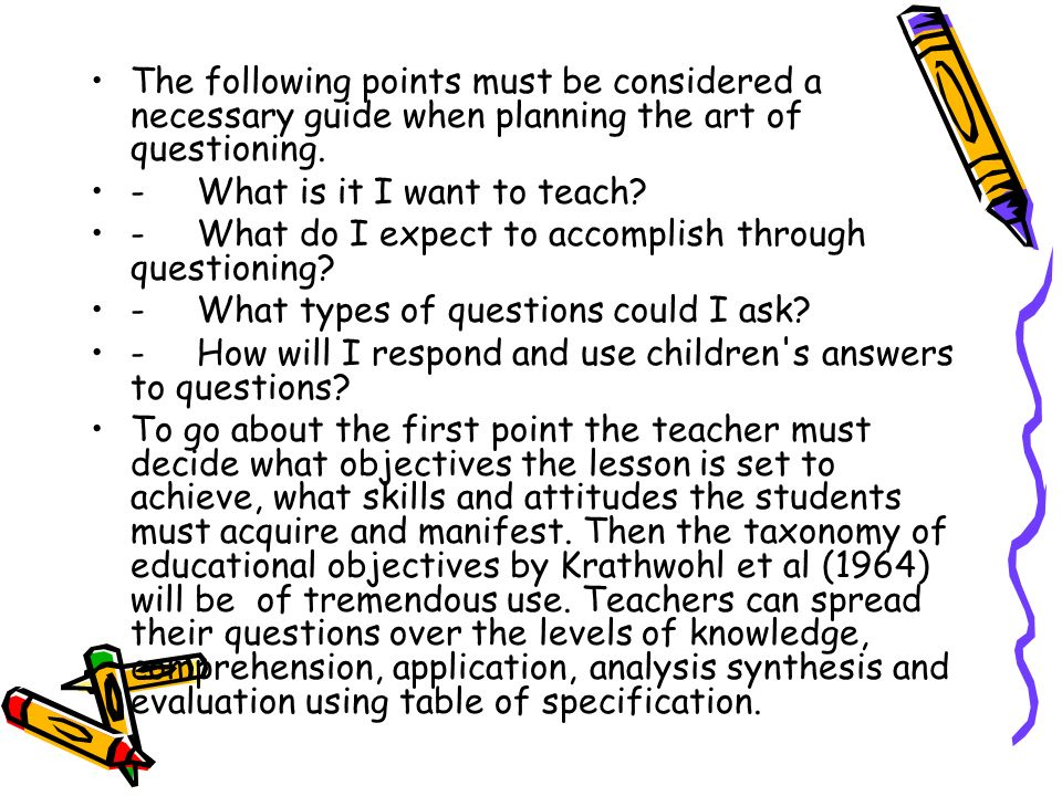 The following points must be considered a necessary guide when planning the art of questioning.