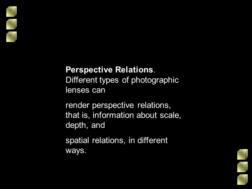 Perspective Relations. Different types of photographic lenses can