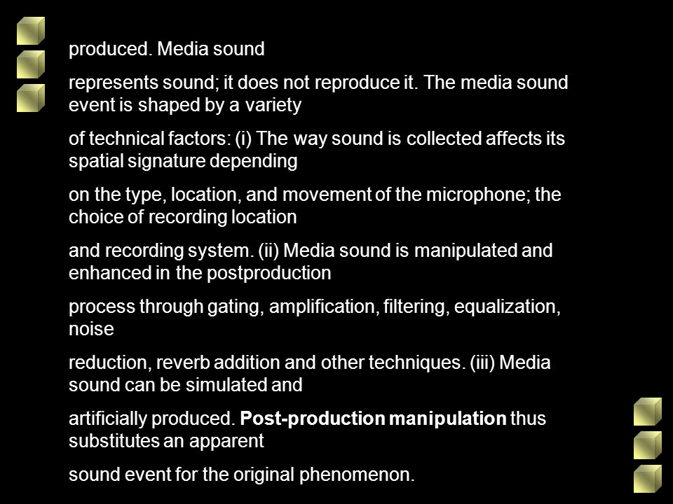 produced. Media sound represents sound; it does not reproduce it. The media sound event is shaped by a variety.