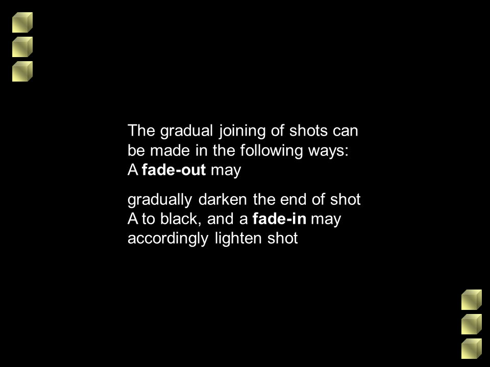 The gradual joining of shots can be made in the following ways: A fade-out may