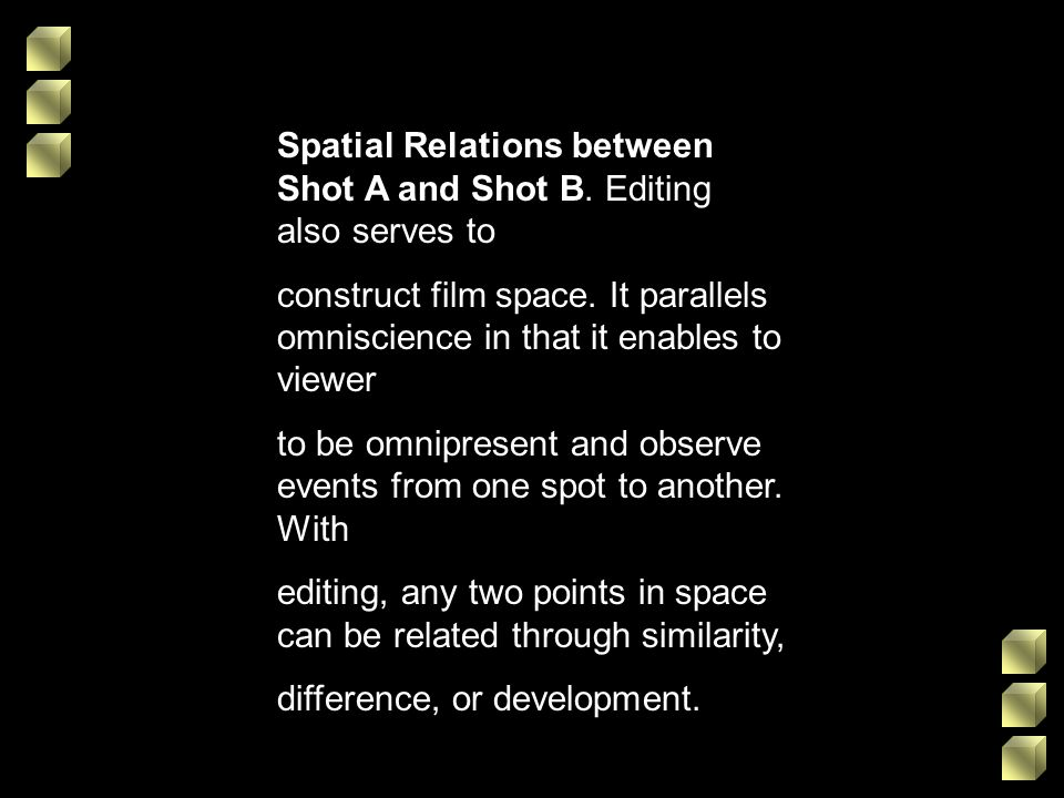 Spatial Relations between Shot A and Shot B. Editing also serves to