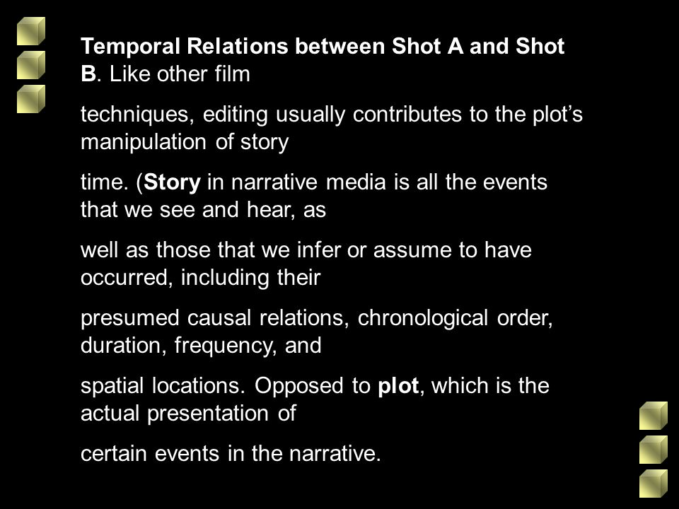 Temporal Relations between Shot A and Shot B. Like other film