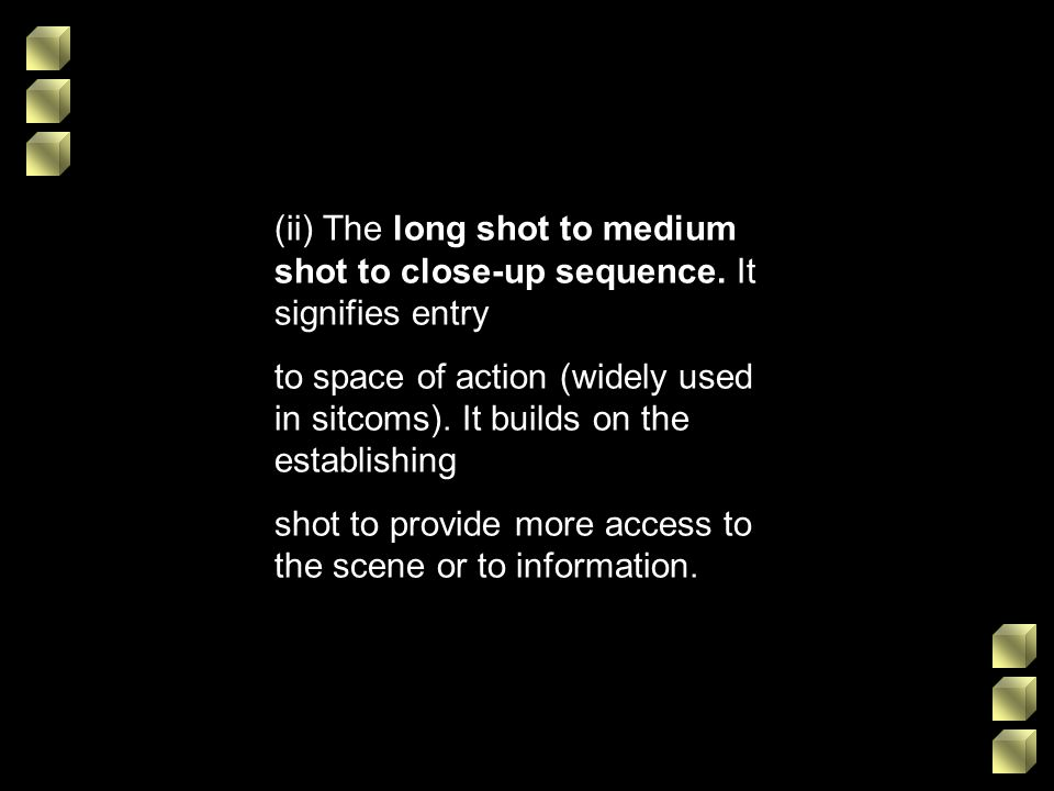 (ii) The long shot to medium shot to close-up sequence