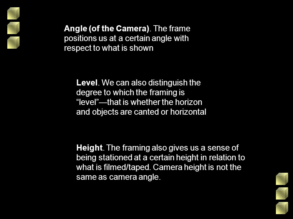Angle (of the Camera). The frame positions us at a certain angle with respect to what is shown