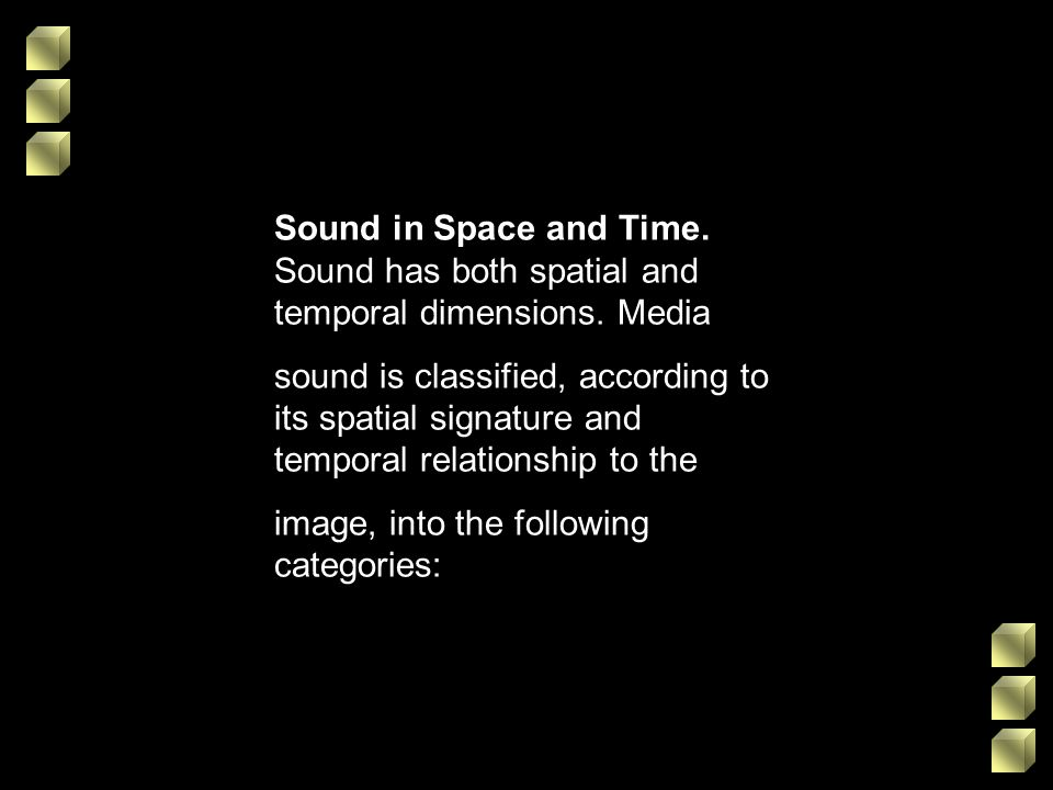 Sound in Space and Time. Sound has both spatial and temporal dimensions. Media
