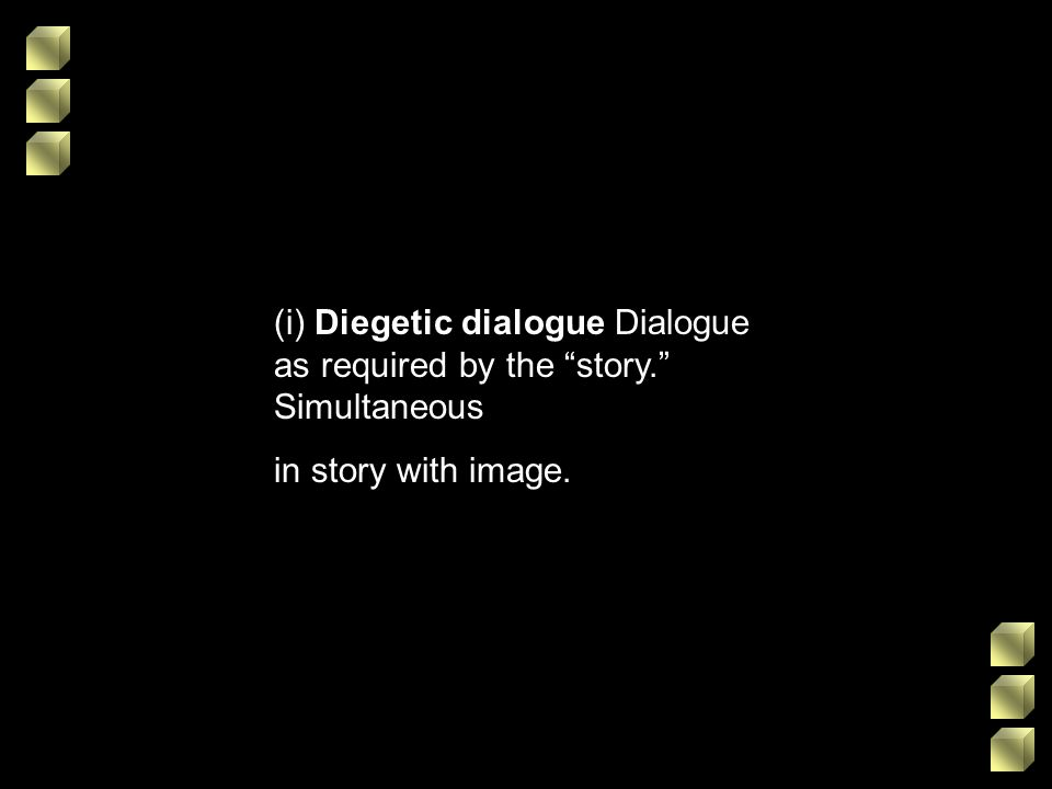 (i) Diegetic dialogue Dialogue as required by the story