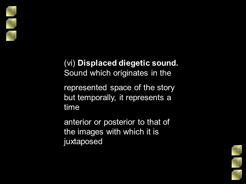 (vi) Displaced diegetic sound. Sound which originates in the