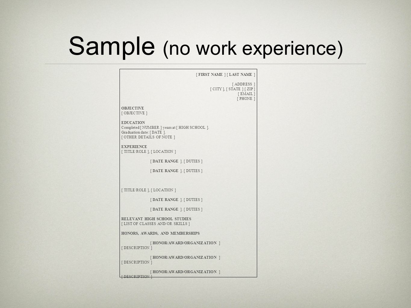 Sample (no work experience)