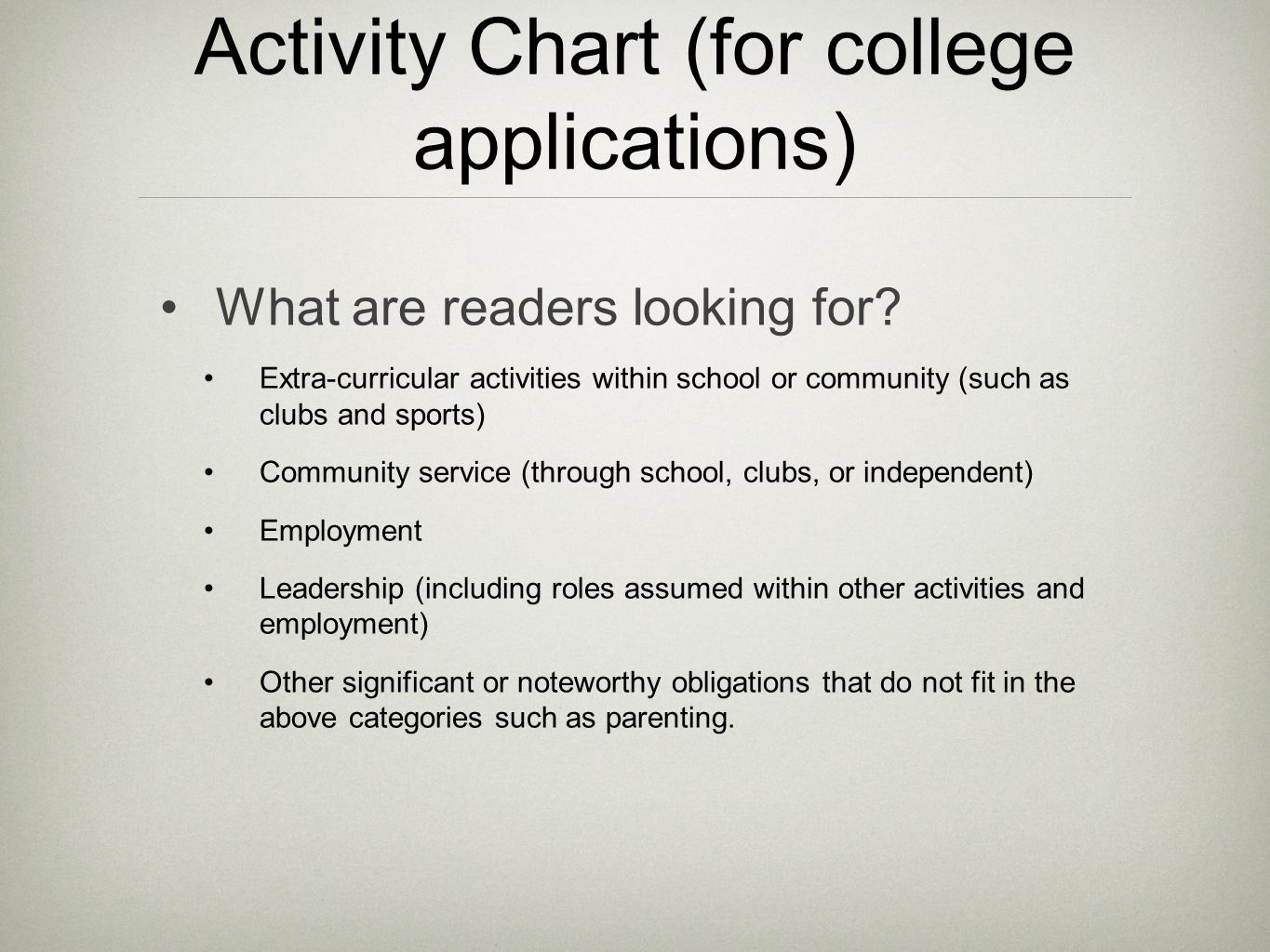 Activity Chart (for college applications)